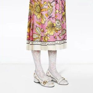 NEW Gucci cream Marmont embroidery loafer pumps